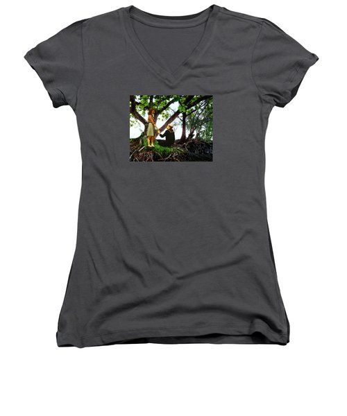 One Moment In Paradise Women's V-Neck T-Shirt (Junior Cut) by Timothy Bulone