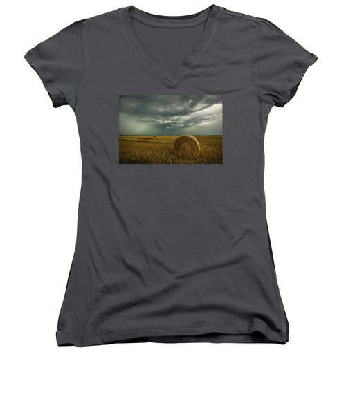 Women's V-Neck T-Shirt featuring the photograph One More Time A Round by Aaron J Groen
