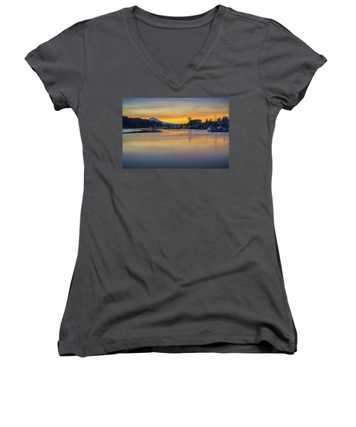 One Morning In Gig Harbor Women's V-Neck T-Shirt (Junior Cut) by Ken Stanback