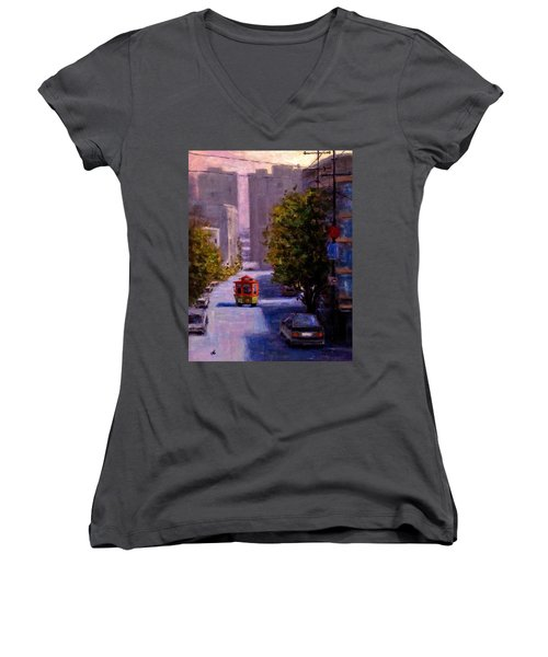 One Quiet Afternoon In San Francisco.. Women's V-Neck T-Shirt (Junior Cut) by Cristina Mihailescu