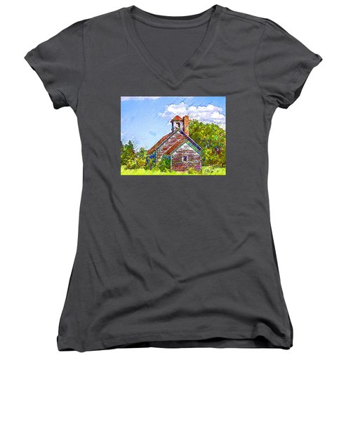 One Room Schoolhouse Women's V-Neck (Athletic Fit)
