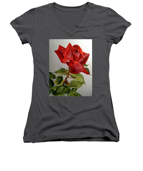 One Single Red Rose Women's V-Neck T-Shirt (Junior Cut) by Carol Grimes