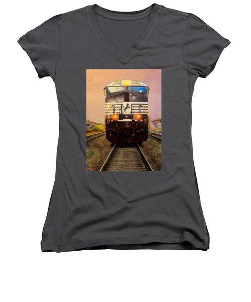 One Track Mind Women's V-Neck T-Shirt