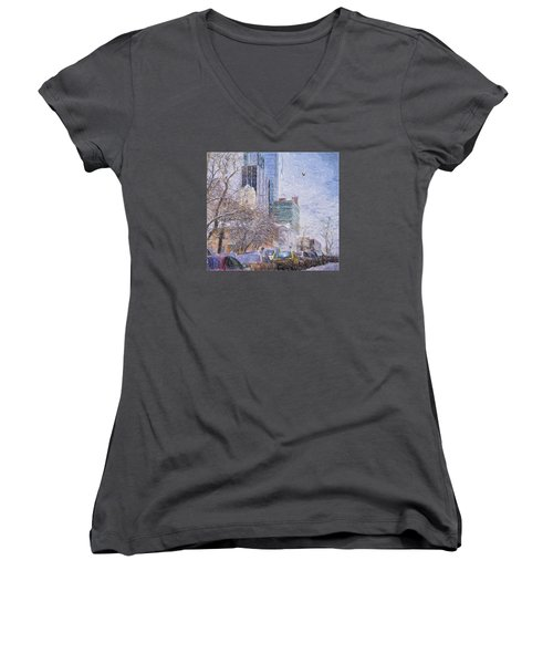 One Winter Day Women's V-Neck T-Shirt (Junior Cut) by Vladimir Kholostykh