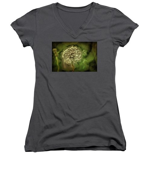 Women's V-Neck T-Shirt (Junior Cut) featuring the mixed media One Woman's Wish by Trish Tritz