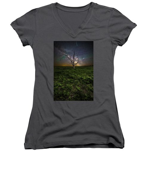 Women's V-Neck T-Shirt featuring the photograph Only by Aaron J Groen
