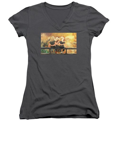 Only Sisters Know Women's V-Neck T-Shirt (Junior Cut) by Karen Kennedy Chatham