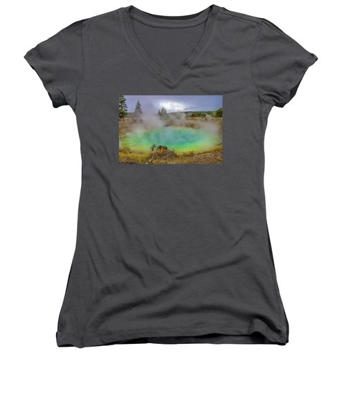 Opal Spring Yellowstone National Park Women's V-Neck (Athletic Fit)