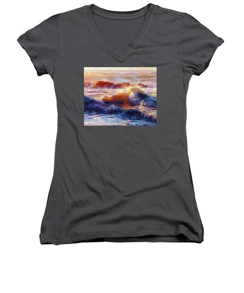 Women's V-Neck featuring the painting Opalescent Sea by Steve Henderson