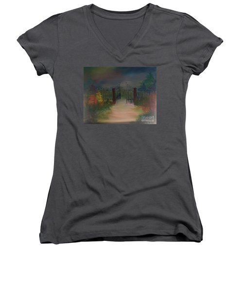 Women's V-Neck T-Shirt featuring the painting Open Gate by Denise Tomasura
