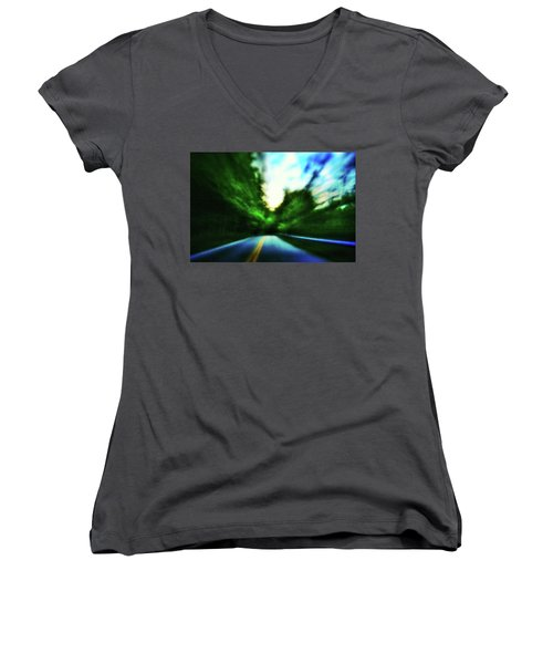 Women's V-Neck featuring the photograph Open Road by Al Harden