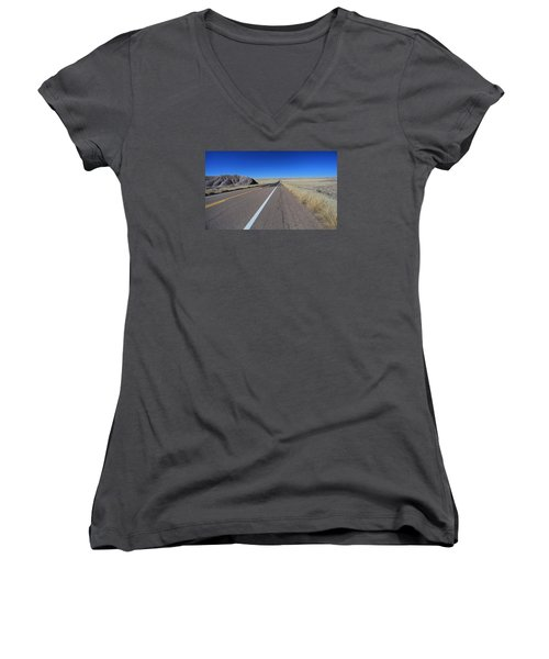 Women's V-Neck T-Shirt (Junior Cut) featuring the photograph Open Road by Gary Kaylor
