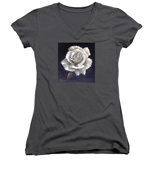 Women's V-Neck T-Shirt (Junior Cut) featuring the painting Opened Rose by Natalia Tejera