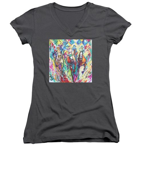 Opening Day In Del Mar Women's V-Neck T-Shirt (Junior Cut) by Heather Roddy