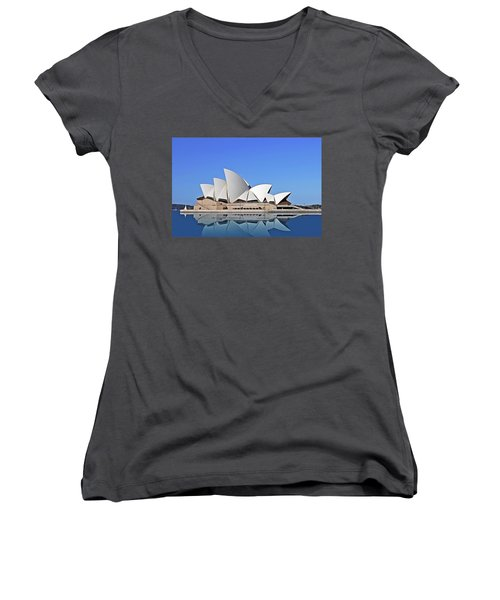 Women's V-Neck featuring the painting Opera House by Harry Warrick