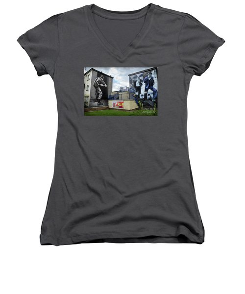 Women's V-Neck T-Shirt (Junior Cut) featuring the photograph Operation Motorman Mural In Derry by RicardMN Photography