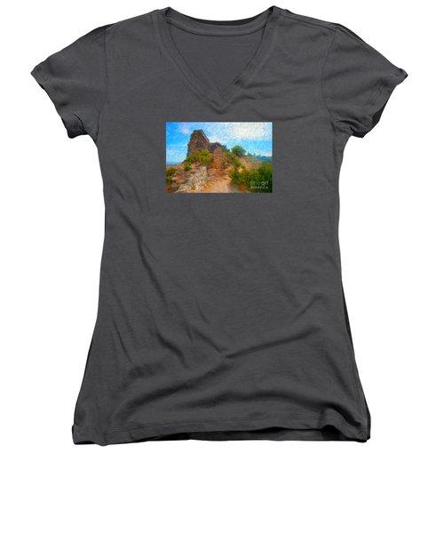 Opoul Castle Ruins Women's V-Neck T-Shirt (Junior Cut)