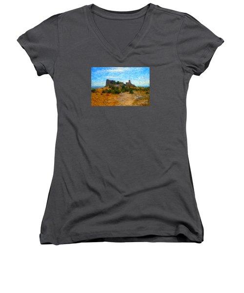 Opoul Castle Ruins II Women's V-Neck T-Shirt (Junior Cut)
