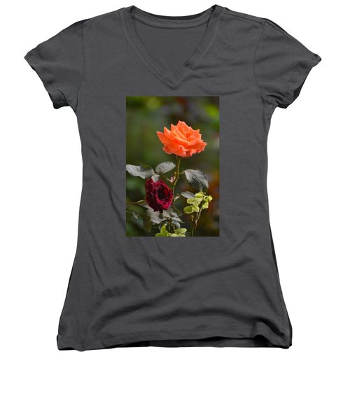 Orange And Black Rose Women's V-Neck (Athletic Fit)