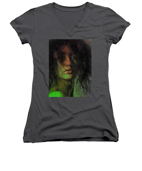Orange And Green Women's V-Neck (Athletic Fit)