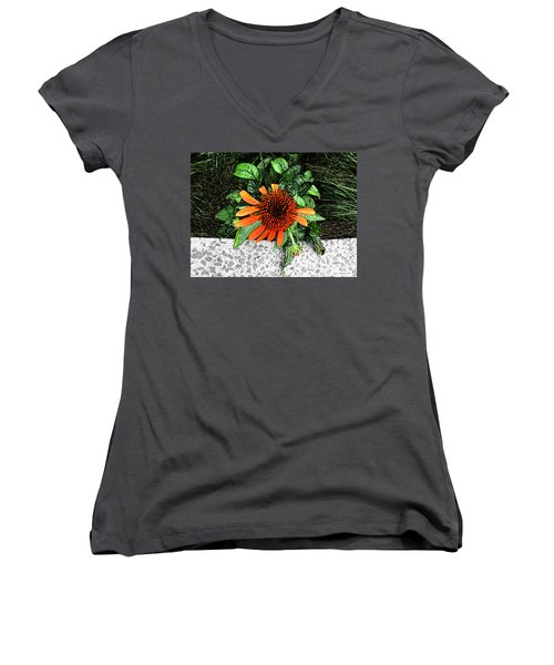 Women's V-Neck T-Shirt (Junior Cut) featuring the photograph Orange At Highline Nyc by Joan  Minchak