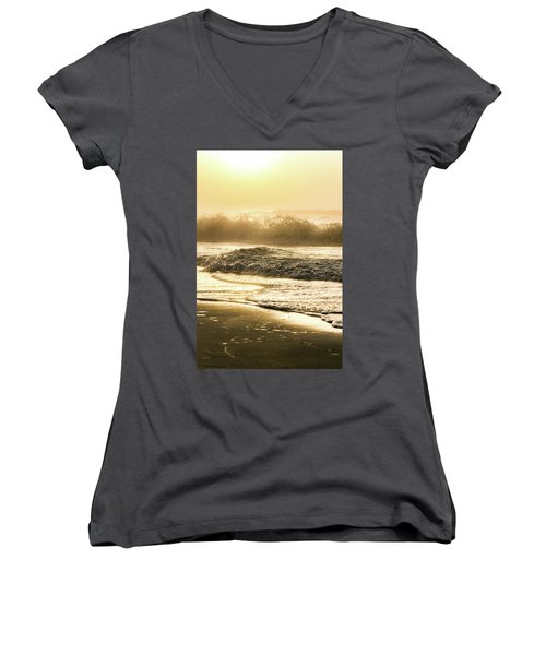 Women's V-Neck T-Shirt (Junior Cut) featuring the photograph Orange Beach Sunrise With Wave by John McGraw