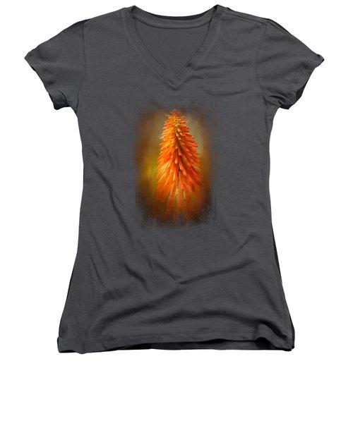 Orange Blast In The Garden Women's V-Neck T-Shirt