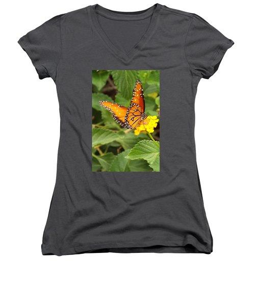 Orange Butterfly Women's V-Neck T-Shirt (Junior Cut) by Judi Saunders