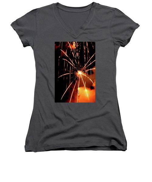Women's V-Neck T-Shirt (Junior Cut) featuring the photograph Orange Chetola Fireworks by Meta Gatschenberger