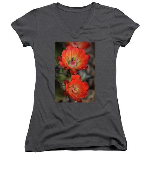 Women's V-Neck T-Shirt (Junior Cut) featuring the photograph Orange Claret Dreams  by Saija Lehtonen
