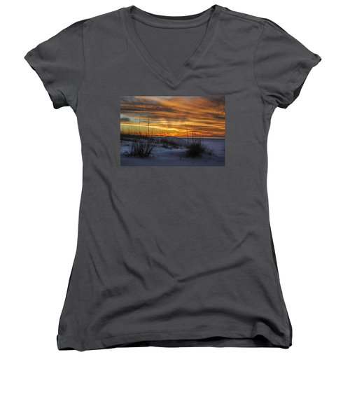 Orange Clouded Sunrise Over The Pier Women's V-Neck