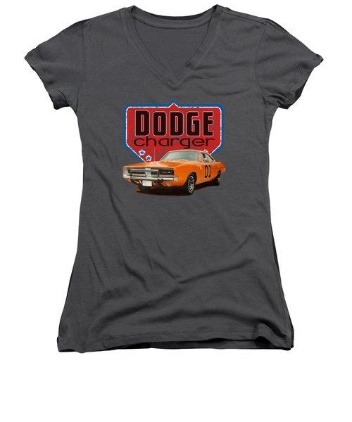 Orange Dodge Charger Women's V-Neck (Athletic Fit)