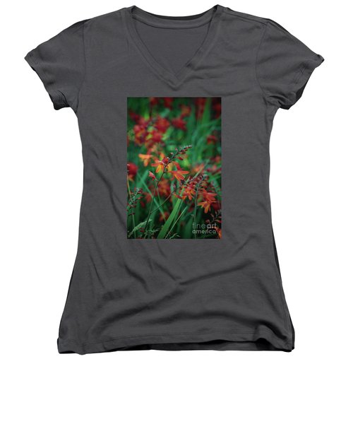 Orange Flowers 8 Women's V-Neck (Athletic Fit)