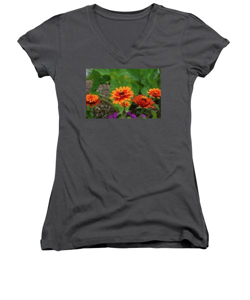 Orange Flowers Women's V-Neck T-Shirt