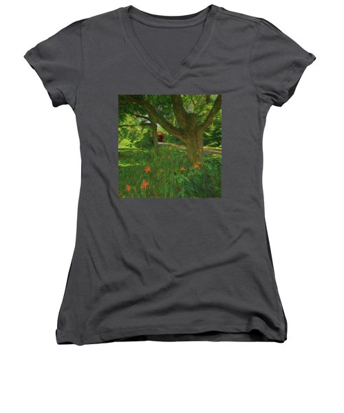 Women's V-Neck T-Shirt featuring the photograph Orange Flowers by Lewis Mann