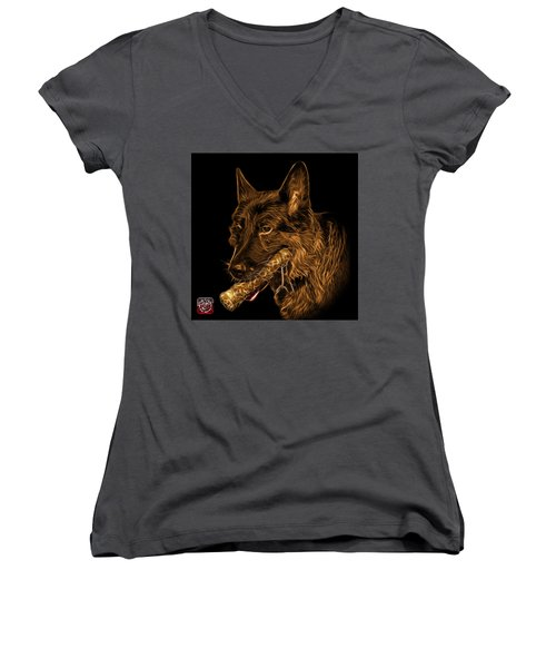 Women's V-Neck T-Shirt (Junior Cut) featuring the digital art Orange German Shepherd And Toy - 0745 F by James Ahn