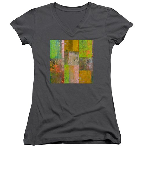 Women's V-Neck T-Shirt featuring the painting Orange Green And Grey by Michelle Calkins