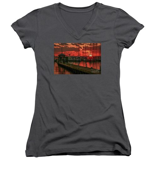 Orange Marina Sunrise Women's V-Neck T-Shirt