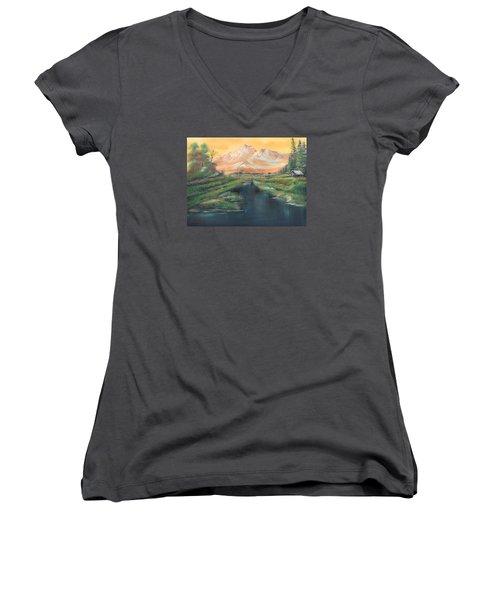 Orange Mountain Women's V-Neck T-Shirt (Junior Cut) by Remegio Onia