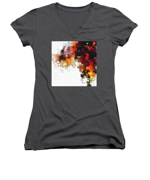 Orange Nordic / Scandinavian Minimalist Art Women's V-Neck T-Shirt (Junior Cut) by Ayse Deniz