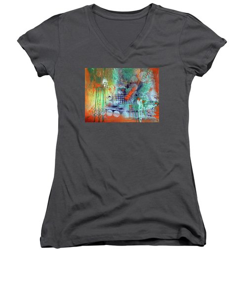 Orange Optimist Women's V-Neck T-Shirt