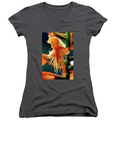 Fringed Orange Orchid Women's V-Neck T-Shirt (Junior Cut) by Meta Gatschenberger