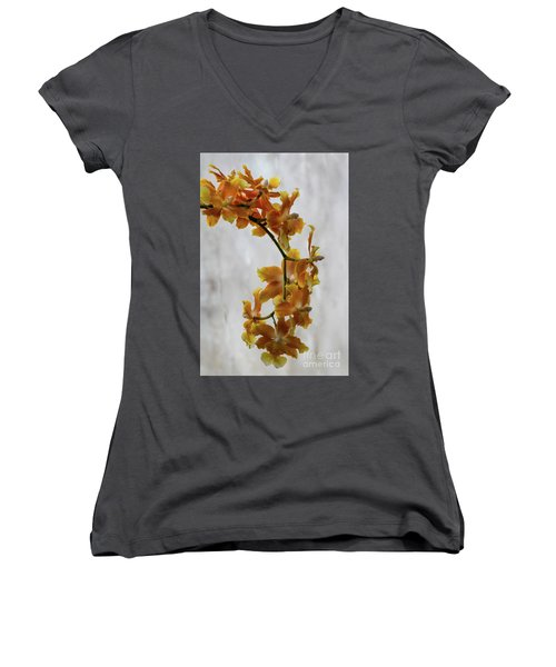 Orange Orchids Women's V-Neck T-Shirt (Junior Cut) by Darleen Stry