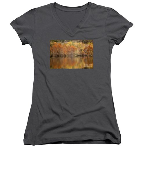 Women's V-Neck T-Shirt (Junior Cut) featuring the photograph Orange Pool by Iris Greenwell