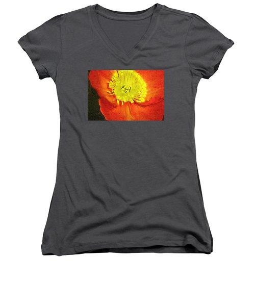 Women's V-Neck T-Shirt (Junior Cut) featuring the photograph Orange Poppy by Donna Bentley