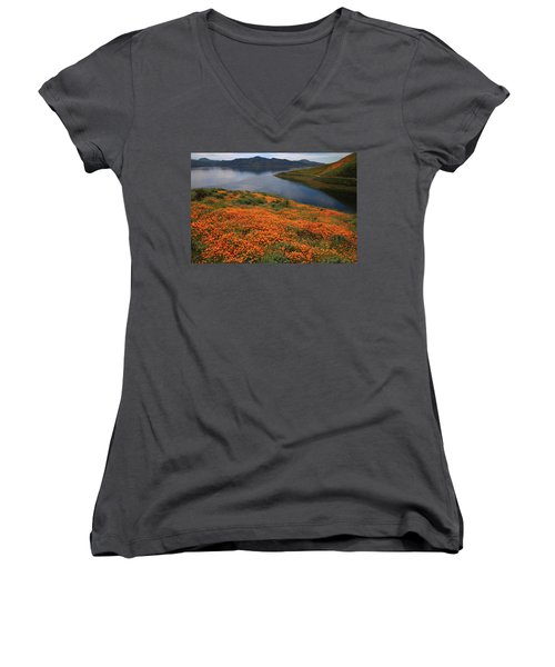 Women's V-Neck T-Shirt (Junior Cut) featuring the photograph Orange Poppy Fields At Diamond Lake In California by Jetson Nguyen