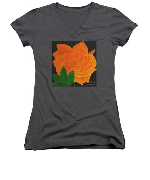 Orange Rose Women's V-Neck
