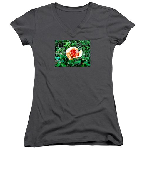 Women's V-Neck T-Shirt (Junior Cut) featuring the photograph Orange Rose by Sadie Reneau