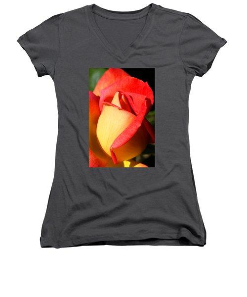 Orange Rosebud Women's V-Neck T-Shirt