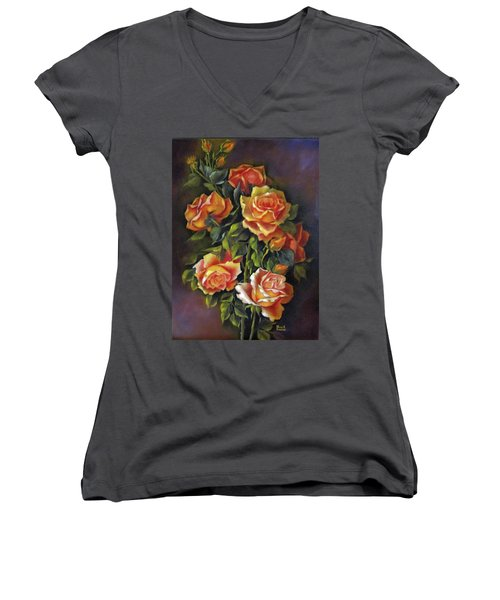 Orange Roses Women's V-Neck (Athletic Fit)